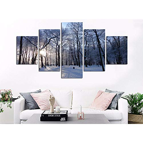 wuyyii Winterwald Schneefräse Nordische Murale Astratti Kunstdruck, auf Leinwand mit Rahmen 5