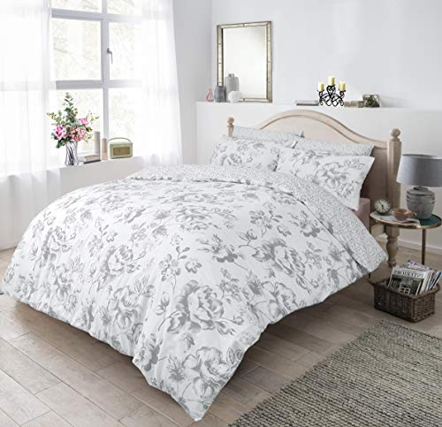 Sleepdown Floral Monochrome Grey Duvet Set - Double Size Bedding Quilt Cover & Pillowcases Good Nights Sleep