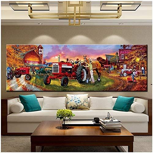 DIY 5D Large Diamond Painting Tractor de granja Kits de Perforación Completos Rhinestone Picture Art Craft para decoración de la Pared del hogar 40x120cm Square Drill