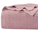 Bedsure 100% Cotton Thermal Blanket - 405GSM Soft Blanket in Waffle Weave for Home Decoration - Perfect for Layering Any Bed for All-Season - Queen Size (90' x 90'), Dustypink