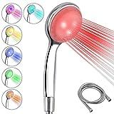 EyPiNS Alcachofa de Ducha LED con Cambio de Color, Cabezal de Ducha con Manguera, 7 Colores, Ahorro de Agua, con Filtro de Cuentas, Impurezas de Cloro, Agua Suave