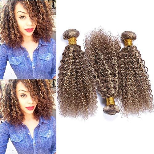 Piano Color Human Hair Bundles Light Brown with Blonde Hihglights Virgin Hair Weaves Kinky Curly #8 Brown Mix #613 Blonde Piano Color Peruvian Human Hair Extensions 300Gram (16 18 20)