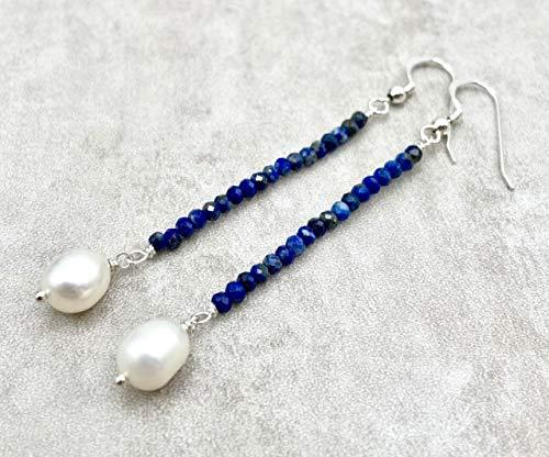Pendientes de lapislazuli azul y perlas blancas, plata 925, joyas artesanales de piedras naturales, piedra de septiembre, regalo para mujer