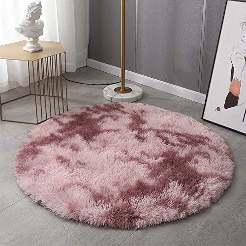 Nordic tie dye Gradient Color Round Carpet Household Shaggy Carpet Long Hair Washable Hanging Basket Chair Yoga Rug Tie dye lotus root pink diameter 80cm