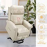 Esright Electric Power Lift Recliner Chair, Faux Leather Electric Recliner for Elderly with Heated Vibration Massage, Side Pocket & Remote Control, White