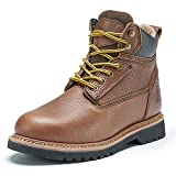 Elk Woods Men's 6 inch Brown Leather Work Boots, Safety Water-Resistant, Oil-Resistant Soft Toe...