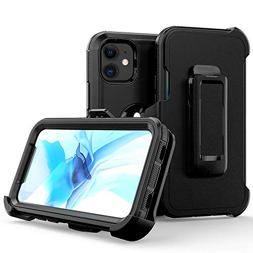 Compatible with iPhone 12 Mini Case,Heavy Duty Hard Shockproof Armor Protector Case Cover with Belt Clip Holster for Apple iPhone 12 Mini 5.4 2020 Phone Case (Black)