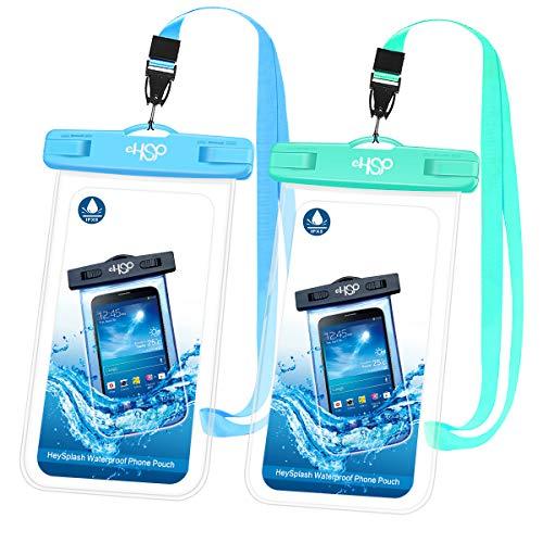 HeySplash Universal Wasserdicht Handyhülle, Unterwasser Schwimmen Durchsichtig Handytasche mit Kordel, Kompatibel mit iPhone X/XS/8/7/6s/6 Plus, Samsung S9 S8, Huawei P20 Mate20 Pro, bis zu 6' -2 Pack