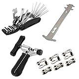 Lncboc Kits de herramientas de reparación de bicicletas,divisor de cadena universal, indicador de desgaste de la cadena, herramienta multifunción 16 en 1, conector de enlace de cadena