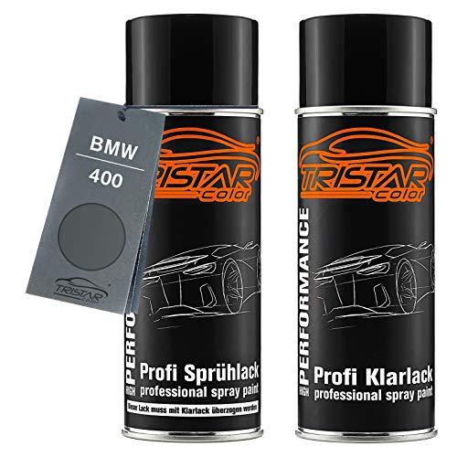 TRISTARcolor Autolack Spraydosen Set für BMW 400 Stahlgrau Metallic Basislack Klarlack Sprühdose 400ml