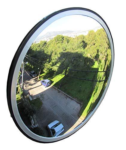 SNS SAFETY LTD Specchio Convesso di Sicurezza da Traffico, per Strade, Magazzini, Garage e Negozi, Diametro 30 cm, Nero, Staffa di Fissaggio Parete