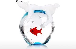 Tooarts Polar Bear and Fish Handmade Animal Art Hand Blown Glass Art Wild Animal Figurine Home Decoration Gift