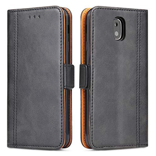 Bozon Lederhülle Hülle für Samsung Galaxy J3 (2017) DUOS - Cover Flip Tasche mit Ständer & Kartenfächer - Schwarz Grau
