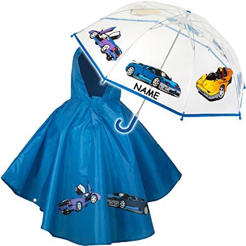alles-meine.de GmbH 2 TLG. Set: Regenschirm + Regenponcho - Auto & Fahrzeuge - inkl. Name - Kinderschirm - Ø 79 cm - durchsichtig & durchscheinend - transparent - Regencape - Kin..