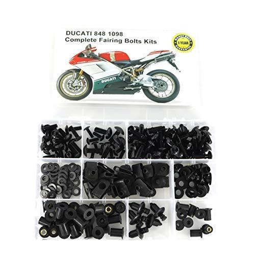 Ajuste para Ducati 848 1098 Accesorios para motocicletas Completas Tornillos de carga completa Kits Kits Cowling Windshind Tornillos Tornillos Clips (Color : Black)