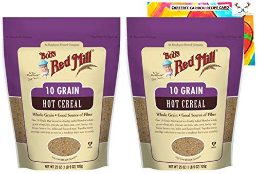 Bob's Red Mill 10 Grain Hot Cereal Bundle. Includes Two (2) 25oz Packages of Bob's Red Mill 10 Grain Hot Cereal and a Recipe Card from Carefree Caribou!