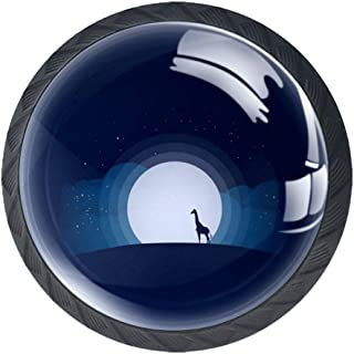Blue Moon Rays - Juego de 4 tiradores de cajón con forma de cristal para armarios de armarios o cajones con tornillos par...