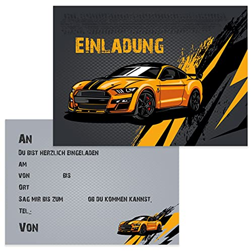 10 Kinder Einladungskarten Einladung Kindergeburtstag Auto Rennauto Rennwagen Jungen Kinder-Geburtstag Geburtstag Party