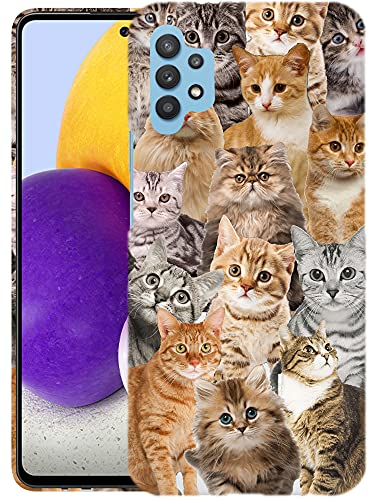 Glisten Samsung Galaxy A32 5G Case - Cat Collage Design Printed Slim Profile Cute Plastic Hard Snap on Protective Designer Back Galaxy A32 5G Case (2021) [Not for 4G]