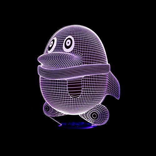 KangYD 3D Night Light Qq Cartoon Penguins, LED Optical Illusion Lamp, C - Touch Crack White(7 Color), Modern Lamp, Fashion Light, Lover Gift, Visual Lamp, Sleeping Lamp