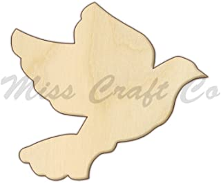 Wedding Dove Wood Shape Cutout, Wood Craft Shape, Unfinished Wood, DIY Project. All Sizes Available, Small to Big. Made in the USA. 6 X 5.4 INCHES