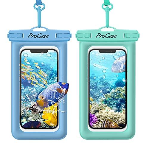 [2 uds] ProCase Funda Impermeable Móvil Flotante, Bolsa Estanca para iPhone 12 Pro MAX 11 XS XR 8 7 Plus Galaxy Pixel Huawei Honor Xiaomi Redmi, Certificado IPX8 para Móviles hasta 7' -Azul/Verde