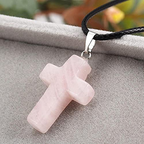 Collar con colgante de cruz de piedras preciosas de Chakra de piedra de cristal de cuarzo natural Joyas -1
