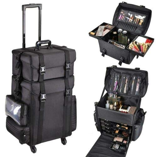 2 in 1 Nylon Make-up koffer Wheeled Trolley Artist Make-up Train Case Grote Reizen Cosmetische Organizer Beauty Box