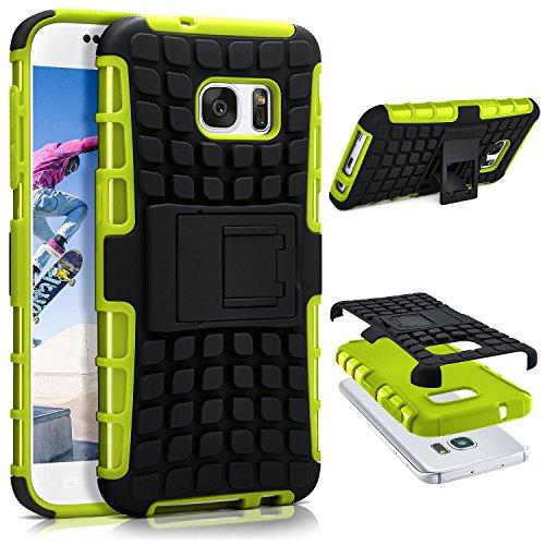 ONEFLOW® Tank Case kompatibel mit Samsung Galaxy S7 Outdoor Hülle | Panzer Handyhülle mit Ständer - 360 Grad Handy Schutz aus Silikon & Kunststoff, Grün