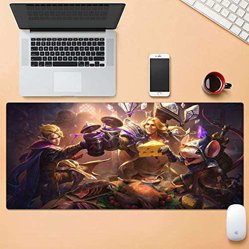 Large Gaming Mouse Pad for League Legends Thick Large (31.5×11.8 Inch) Gamer Mouse Pad Water-Resistant for Work & Gaming, Office & Home, LOL Talon Blackwood Taric Luminshield Twitch Shadowfoot