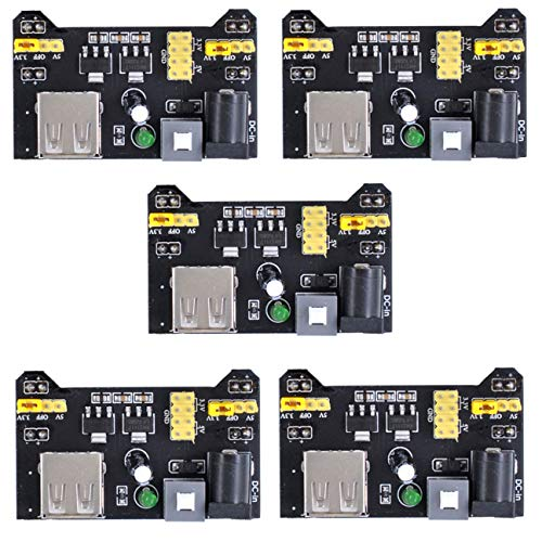 Oiyagai 5pcs Breadboard Power Supply Module 3.3V/5V for Arduino Board Solderless Breadboard