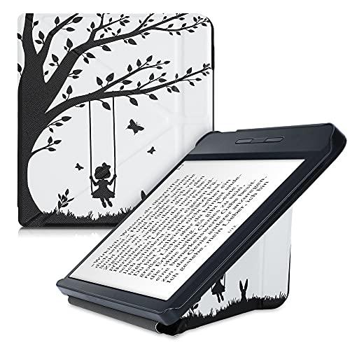 kwmobile Carcasa Compatible con Kobo Libra H2O - Funda magnética de Origami para e-Book - Niña columpiándose Negro/Blanco