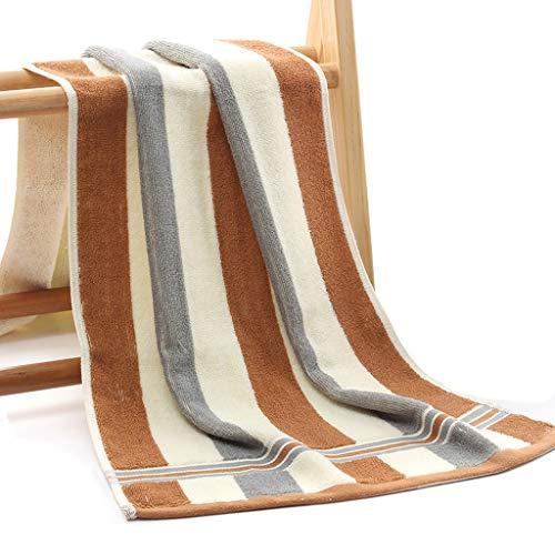 CUJUX 2 Piezas de algodón a Rayas de Color de Viaje Largo Hotel Hostel Toalla portátil Gimnasio Yoga Correr Toalla Grande Playa Sol Toallas de baño Amantes Regalo (Color : Brown)