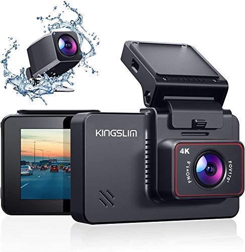 """Kingslim 4K Dual Dashcam mit WiFi GPS, vordere 4K/2.5K hintere 1080P Autokamera, 3 \""""IPS Touchscreen 170 ° FOV Dashboard Cam mit Starvis Sensor, Unterstützung 256GB max-D4"""