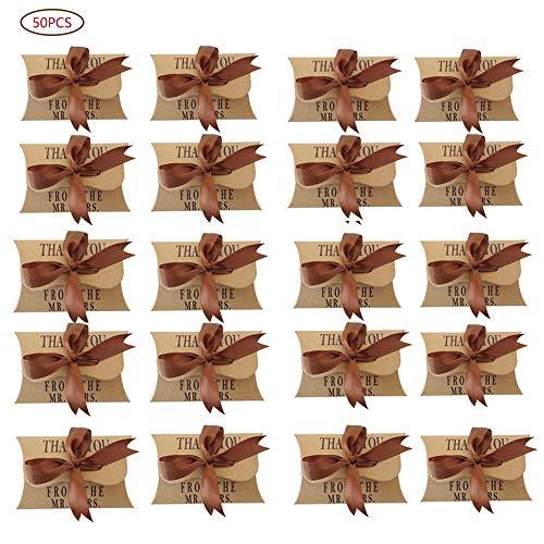 50 Piezas Papel Kraft Caja, Vintage Papel Kraft Marrón Cajas de Regalo, Caja de Regalo de Papel Kraft Para Embalaje Festivo de Boda, Cumpleaños, Fiesta