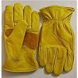 YABAISHI Primo strato Guanti pelle bovina Materiale Motociclo guanti caldi Vintage guanti del lavoro di protezione di giardinaggio (Color : Yellow)