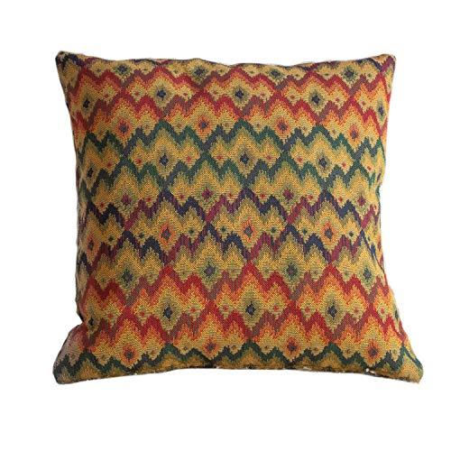 Kissenbezug im traditionellen Tapisserie-Stil. Quadratische Abdeckung, 43,2 x 43,2 cm. Schweres, gewebtes türkisches Kelim-Muster.