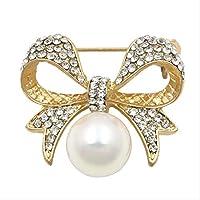 シミュレートされた真珠を持つ女性のためのクリスタルラインストーンボウブローチピン