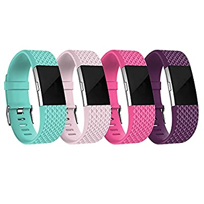 RedTaro Replacement Elastomer Wristband for Fitbit Charge 2 (Pack of 4)
