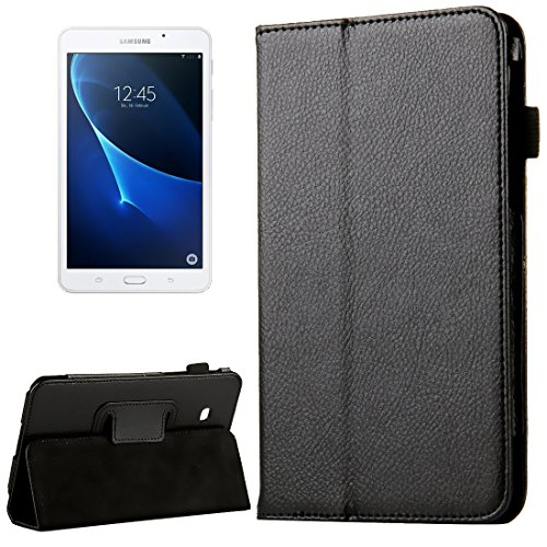 subtel® Smart Hülle kompatibel mit Samsung Galaxy Tab A 7.0 (SM-T280/SM-T285) Kunstleder Schutzhülle Tasche Flip Cover Hülle Etui schwarz
