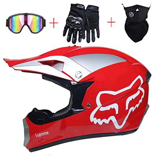 Casco integral, Conjunto de casco de motocross para motocicleta para niños, Equipo protección casco de choque para bicicleta de tierra con diseño FOX, Certificación DOT (Gafas/Guantes/Máscara)