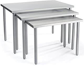 Displays2go, White Nesting Tables for Retail, Steel, MDF, Melamine Build – White, Silver Finish (NST3T48WT)