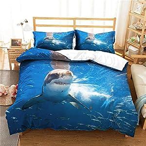 Treer Juego de Ropa de Cama, Azul 3D Tiburón Impresión 3 Piezas Cómodo Microfibra Anti Decoloración Funda Nórdica de Edredón y 2 Fundas de Almohada 50x75cm (220x240cm,Tiburón vicioso)