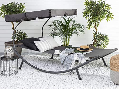 Beliani Moderne Gartenliege Textillene EIN integriertes Sonnendach Terno