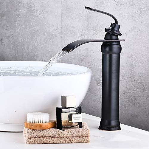 KUNGYO Vintage Badezimmer Hoch Becken Wasserhahn - Schwarz Toilette WC Küche Bad Rührgerät Wasserhahn Herausziehen Öl-Bronze Messing Waschbecken Armaturen mit Einhebel