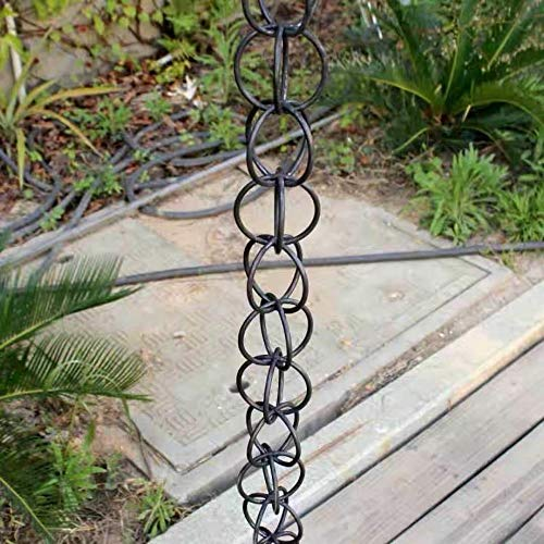 LQKYWNA Gartentempel Villa Regenketten Ring, Doppelschlaufe Aluminiumlegierung Tropfenabfluss Kettendekoration ? 1 m