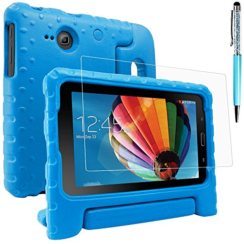 Protective Case Compatible with Samsung Galaxy Tab E Lite 7.0 with Screen Protector and Stylus, AFUNTA Convertible Handle Stand EVA Case, PET Plastic Cover and Touch Pen for Tablet 7 Inch - Blue