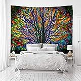 Tapiz de color psicodélico, decoración de árbol para artículos del hogar, tapiz de viento, decoración de dormitorio, tela para colgar de fondo vivo para estudio de pared (200 x 150)