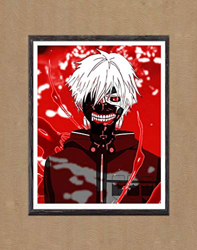 MS Fun Tokyo Ghoul Lord of Ghoul Blood Wings Kaneki Ken Colorful Fabric Canvas Art Prints Poster for Home Decoration,8 x 10 Inches,No Frame