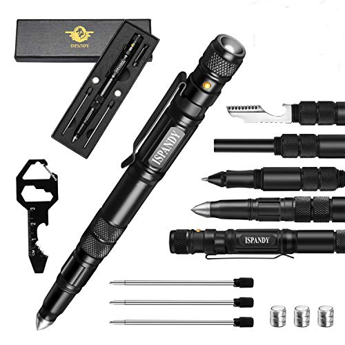 Multi-Tool Gifts for Men Tactical Pen Tactical Flashlight Survival Pen, Father's Day Stocking Stuffers Gift for Men Fire Starter for Survival Gear with Ballpoint Pen Bottle Opener Key Tool